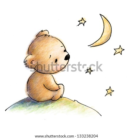 Cute blue teddy bear watching the stars - stock photo