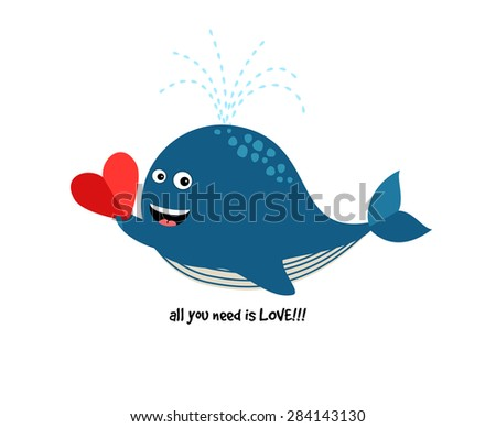 Cute Blue Whale with Heart. Illustration about love for cards and invitations - stock photo