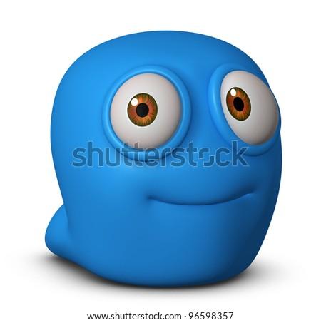 cute blue worm - stock photo