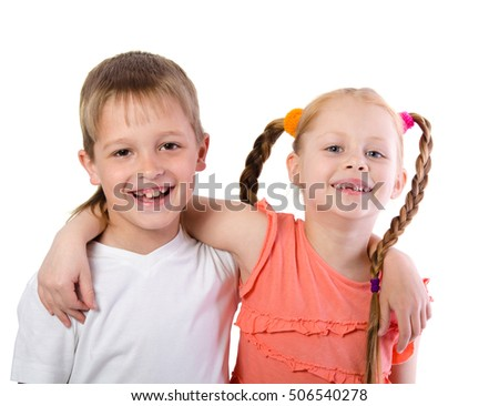 Cute boy and girl hugging isolated on white background
