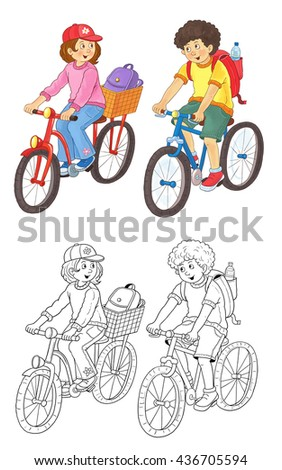 cute boy and girl riding bicycles young tourists traveling on bikes illustration for children