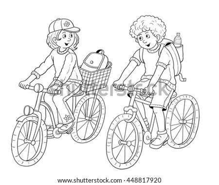 cute boy and girl traveling on bikes two young tourists riding bicycles illustration for