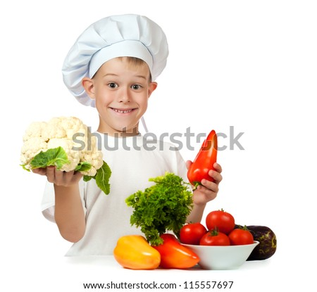 cute boy Chef is cauliflower and bell pepper. isolated
