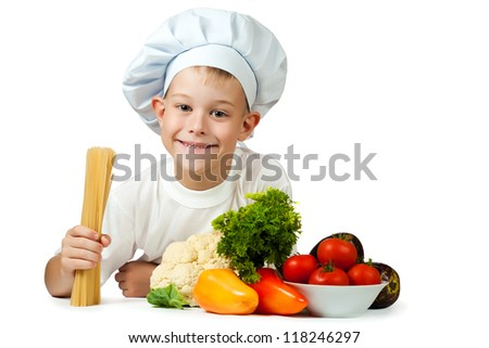 cute boy Chef is holding spaghetti. isolated