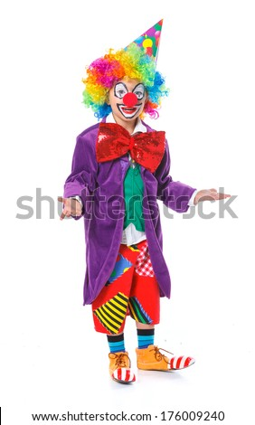 Cute boy clown. Isolated on white background. - stock photo