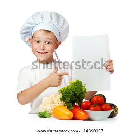 cute boy cook is holding with a sheet of paper. isolated