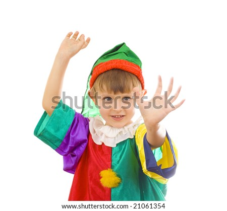 cute boy dressed as a clown moving his hands; facial expressions