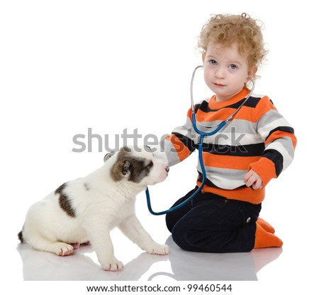 cute boy examing dog. isolated on white background - stock photo
