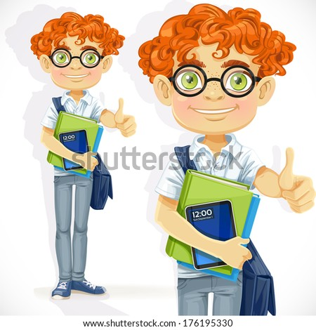 Cute boy in glasses with textbooks - stock photo
