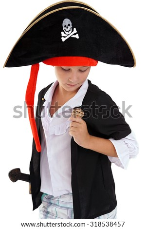 Cute boy in the pirate costume on white background