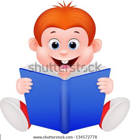 Cute boy reading book - stock photo