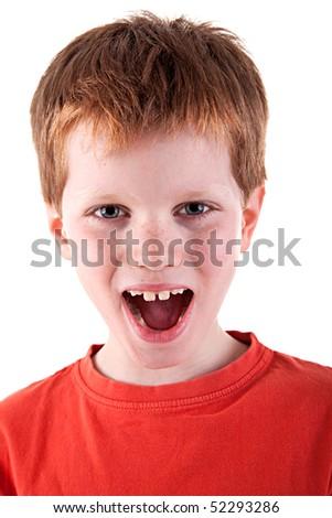 Cute Boy, screaming, isolated on white background. Studio shot. - stock photo