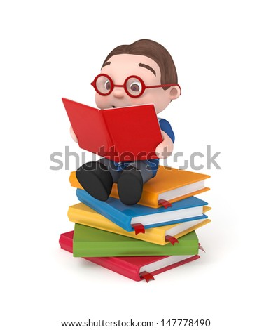cute boy sitting on books reading- 3d rendered isolated - stock photo