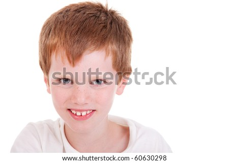 Cute Boy smiling, isolated on white, studio shot - stock photo