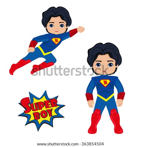 Cute Boy superhero in flight and in standing position.Illustration isolated on white background