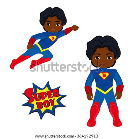 Cute Boy superhero in flight and in standing position. Illustration on white background