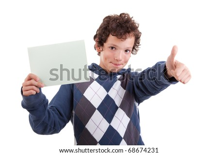 cute boy with a paperboard in hand giving consent, with thumb up, isolated on white background. Studio shot.