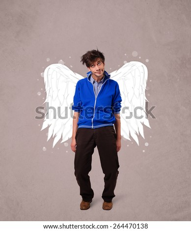 Cute boy with angel illustrated wings on grungy background - stock photo