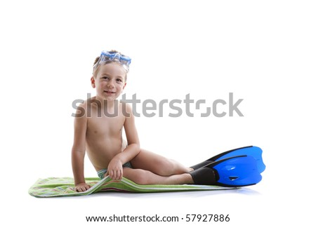 Cute boy with diving mask and flippers on white; lot of copy-space