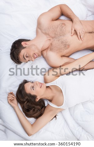 Cute boyfriend and girlfriend are spending time together - stock photo