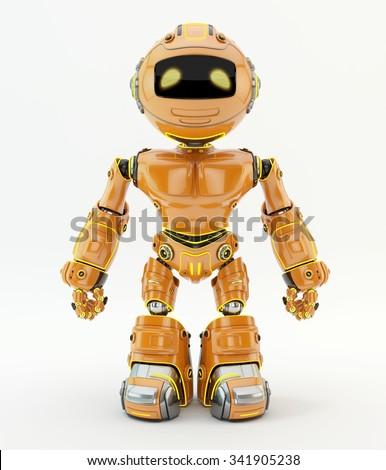 Cute braverobotic unit. Orange plasticmaterial with yellowillumination - stock photo