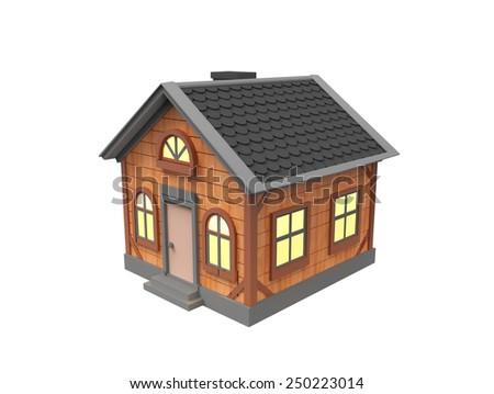 Cute brown house - stock photo