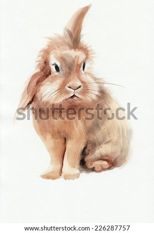 Cute brown rabbit isolated on white background. Original watercolor painting.