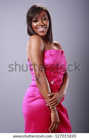Cute brunette in magenta - stock photo