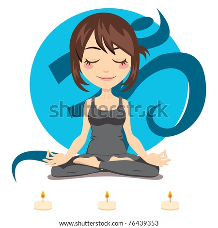 Cute brunette woman doing yoga lotus position with three candles in front