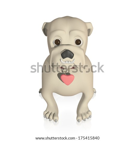 Cute bulldog puppy on white background with heart shaped dog tag on collar - stock photo
