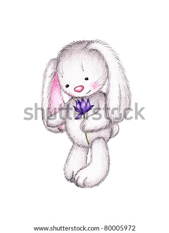 cute bunny holding lilac flower on white background - stock photo