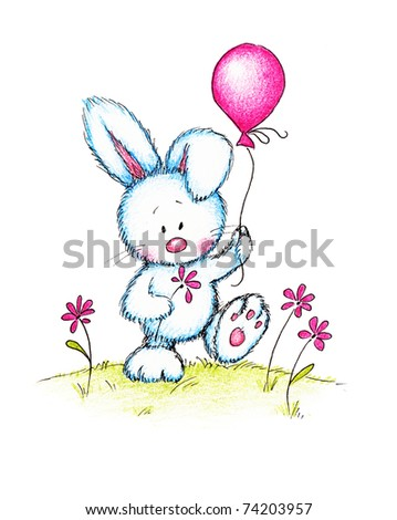 cute bunny holding pink flower and balloon on green lawn - stock photo