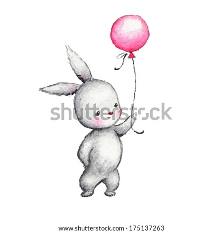 Cute Bunny with Pink Balloon
