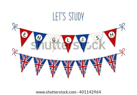 Cute bunting flags for English Language Day - stock photo