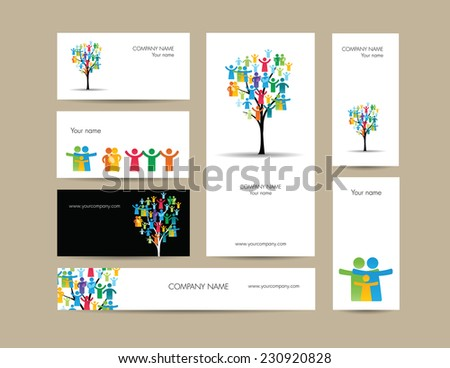 Cute business elements - cards, banner and folder - stock photo