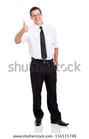 cute business executive giving thumb up on white background - stock photo