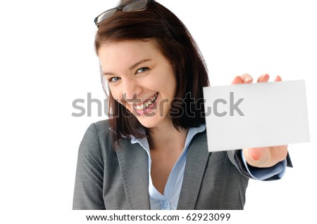 Cute business woman holding white placard - stock photo