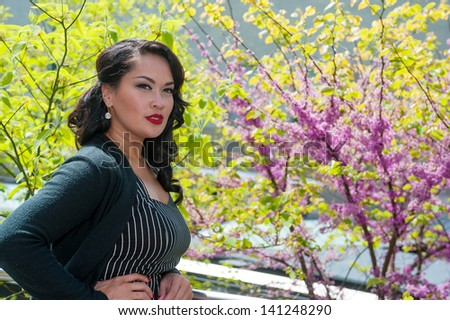 Cute business woman posing on High Line, NYC - stock photo