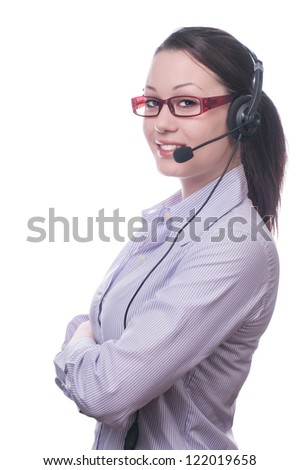 Cute business woman with headset at workplace,isolated on white - stock photo