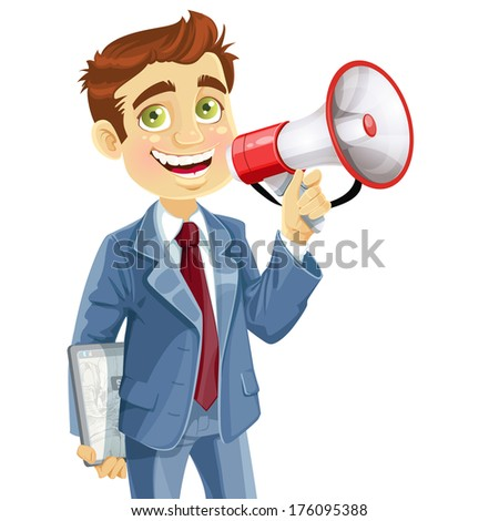 Cute businessman with electronic tablet speaks in megaphone isolated on white background