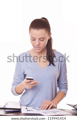 cute businesswoman with documents and mobile phone - stock photo