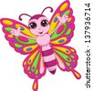 Cute butterfly cartoon - stock vector