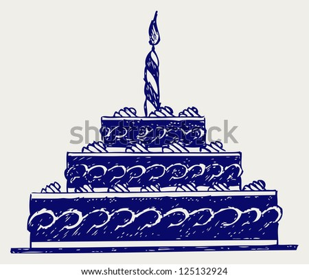 Cute cake. Doodle style. Raster version - stock photo