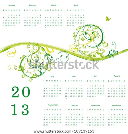Cute calendar on New Year 2013 with flowers