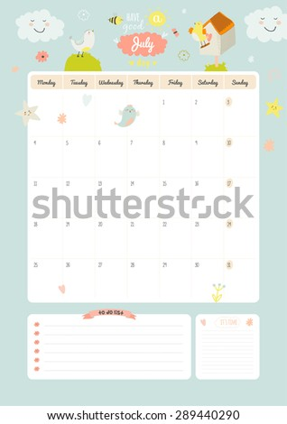 Cute Calendar Daily Weekly Planner Template Stock Vector 446684041