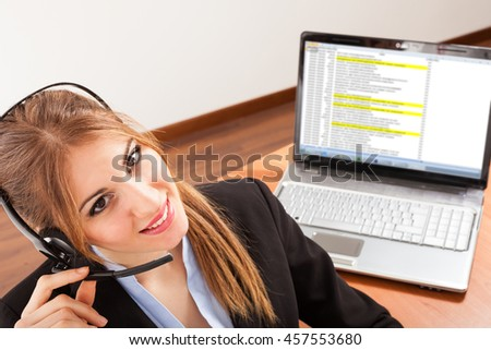 Cute call center operator portrait
