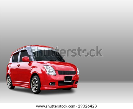 cute car layout with clipping path - stock photo