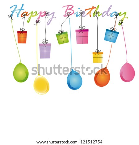 Cute card on birthday with colorful presents and balloons