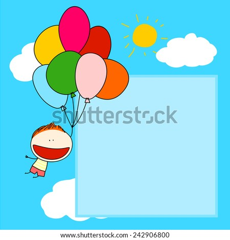 Cute card with a boy flying with a bunch of balloons - stock photo