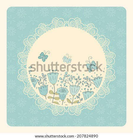 Cute card with blue flowers and butterfly. Blue background and white lace frame. Ideal for scrap booking, celebration card, invitation. - stock photo